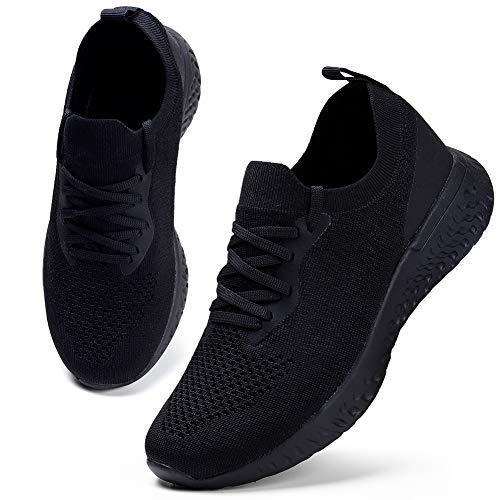 HKR Damen Turnschuhe Atmungsaktiv Laufschuhe Leichtgewichts Sportschuhe Freizeitschuhe Straßenlaufschuhe Sneaker Trainer für Running Fitness Gym Outdoor Schwarz 40 EU