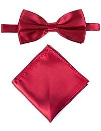 Men's or Boy's Stylish Satin Bow Tie & Pocket Handkerchief Set