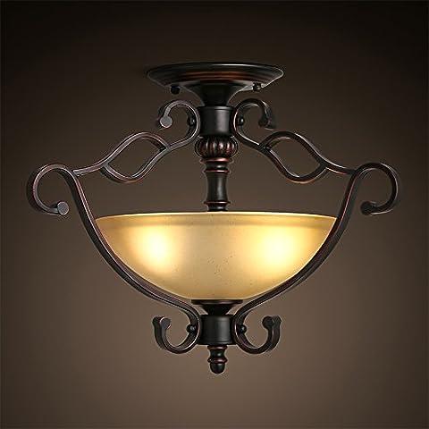 KHSKX Lámpara de techo,American creativa salón dormitorio retro luz de techo de hierro restaurante continental porche carácter rural del corredor lights 480*370mm