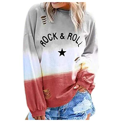 R-Cors Rock & ROLL Frauen Lange Ärmel T-Shirt Mit Buchstabenmuster O-Neck Top,Rundhalspullover mit Farbverlauf -