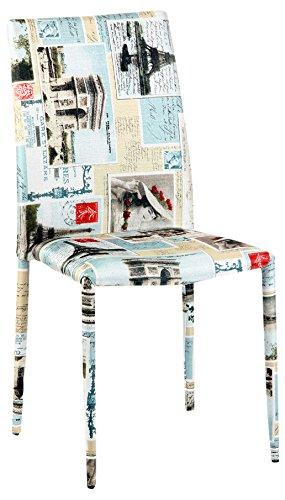 cribel sedia, rivestimento in tessuto, motivo grafico parigi, 4 ... - Sedia Rivestimento Tessuto Caffe
