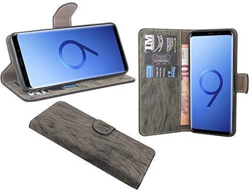 cofi1453 Elegante Buch-Tasche Hülle kompatibel mit Samsung Galaxy S9 (G960F) in Anthrazit Leder Optik Wallet Book-Style Schale