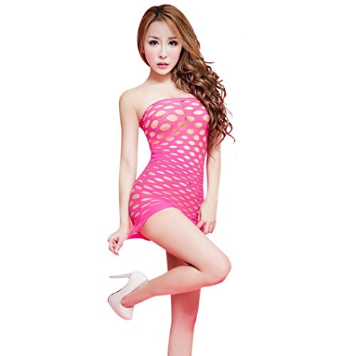 Aushöhlen Jumpsuit Damen Clubwear Bodycon Lingerie Erotik Set , Kingprost Sexy Minikleid Nachtkleid Reizwäsche Transparent Lingerie Body (Rose rot) (Sexy Rose Bodystocking Lace)