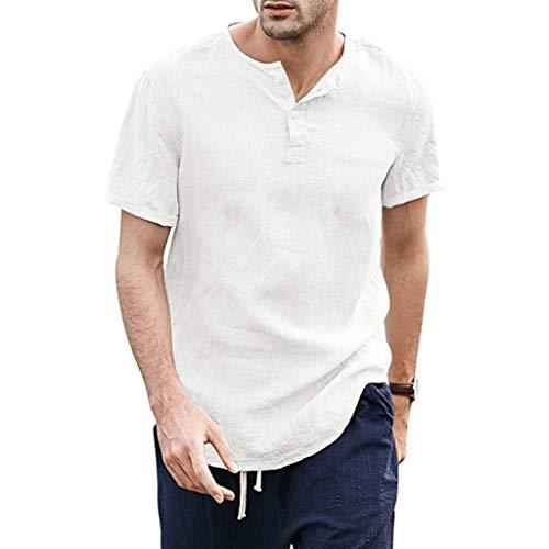 BHYDRY Kühle dünne atmungsaktive Normallack-Knopf-Baumwollhemd-Kurzarm der Sommer-Männer (Large,Weiß) -