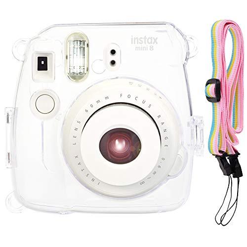 SAIKA Kristall Schwerer Tasche für Fujifilm Instax Mini 9/8/8 + Sofortbildfilmkamera mit hübschem verstellbaren Riemen - Transparent