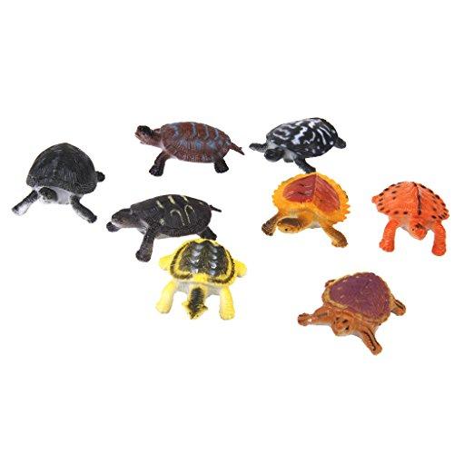 Generic Plastic PVC Tortoise Model Kids Toy 8pcs Multi-color