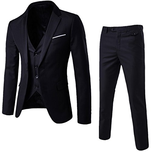 HerZii Herrenmode Slim Fit 3-teilige Business Suit Blazer -