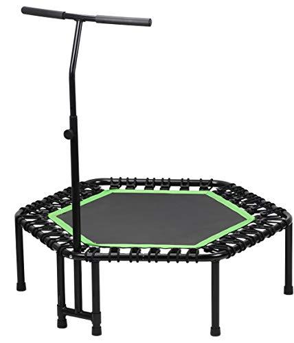 Pilin mini trampolino hexagon fitness da interno/esterno con manubrio regolabile per bambini e adulti
