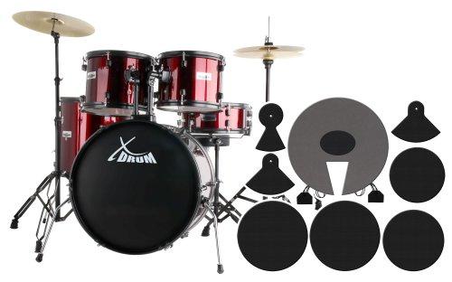 """XDrum Rookie Schlagzeug Set Drumset Rot (22\"""" BD, 12\"""", 13\"""", 16\"""" TT, 14 SN, Übungsbecken bestehend aus einem Satz Hi-Hat-Becken 14\"""" und 1 Crash-Ride-Becken 16\"""", inkl. DVD und Schlagzeugdämpferset)"""