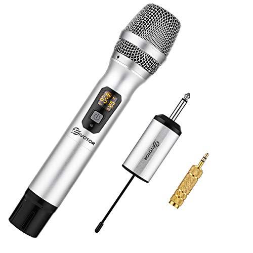 EIVOTOR Kabelloses Mikrofon UHF Funkmikrofon mit Empfänger Wireless Microphone Karaoke Drahtloses Tragbares Handmikrofon Dynamisches Mikrofon bis zu 50m für Konferenz Schule Hochzeit Reden Sitzung