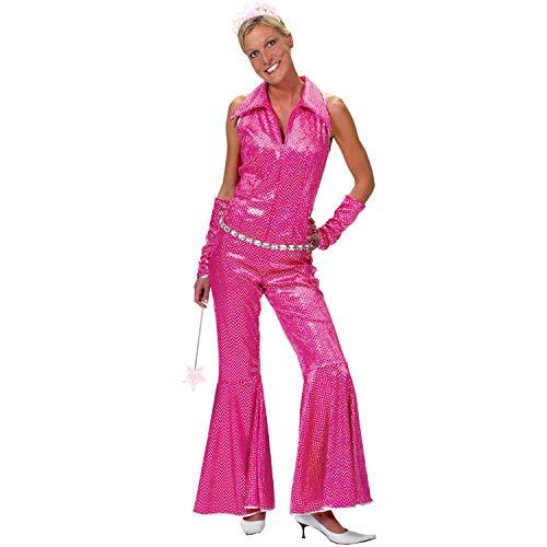 Krause & Sohn Damen Kostüm Disco Girl Jumpsuit pink Gr. 36-46 70er 80er Fasching