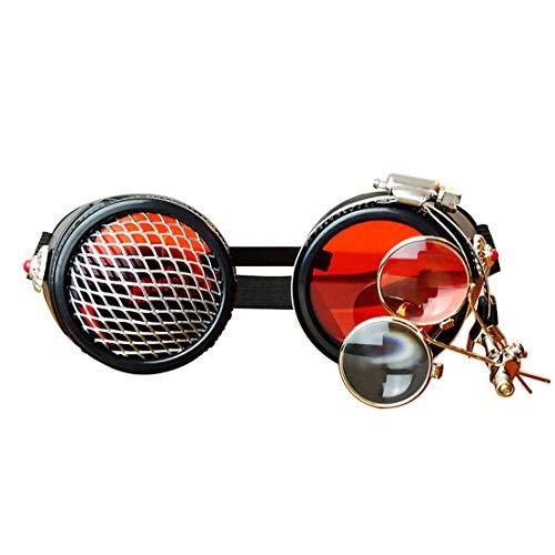 MALLTY Steampunk viktorianischen Stil Cyber   Goggles mit Kompass Design, rote Linsen & Okular Lupe (Color : Style1)
