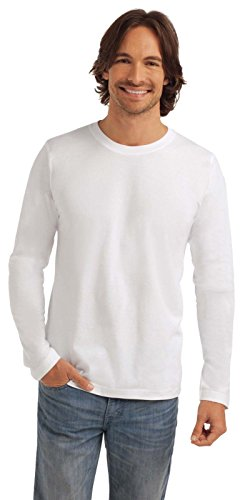 Maglia Maniche Lunghe Uomo Cotone Stedman Classic T Shirt Maglietta Manica Lunga, Colore: Bianco, Taglia: L