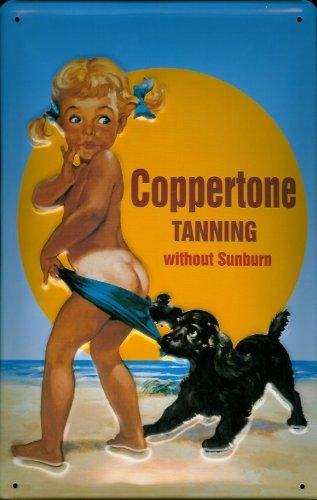 blechschild-nostalgieschild-coppertone-tanning-kind-mit-hund-am-strand
