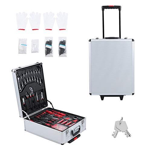 CremeBruluee 599 PCS Werkzeugwagen-Set mit robuster Trage Box mobilen Werkstatt Toolbox Startseite