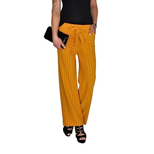 Dresscode-Berlin Damen Culotte Paperbag Hose mit Nadelstreifen in schwarz, blau, Khaki, Ocker und rot (L/XL, Ocker) -