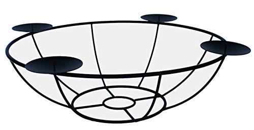 ARTECSIS Schwarzer Kerzenhalter Adventskranz aus Metall zur Tischdekoration Durchmesser 40cm, modern und robust