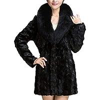 Keepwin Frauen Warm Solid Dicke Plüsch Mantel Winter Faux Pelzkragen Lange Jacke Parka Oberbekleidung