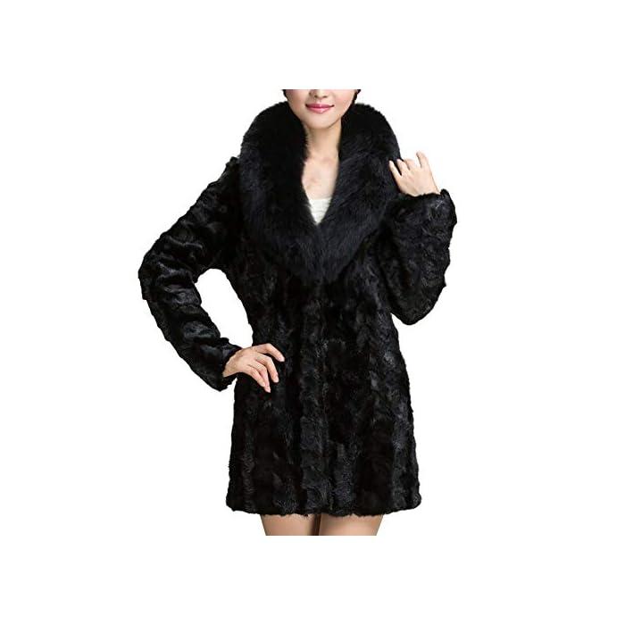 URSING Warme künstliche Wollmantel Pelzkragen Jacke With Umlegekragen Winter Lange Parka Oberbekleidung Winterparka…