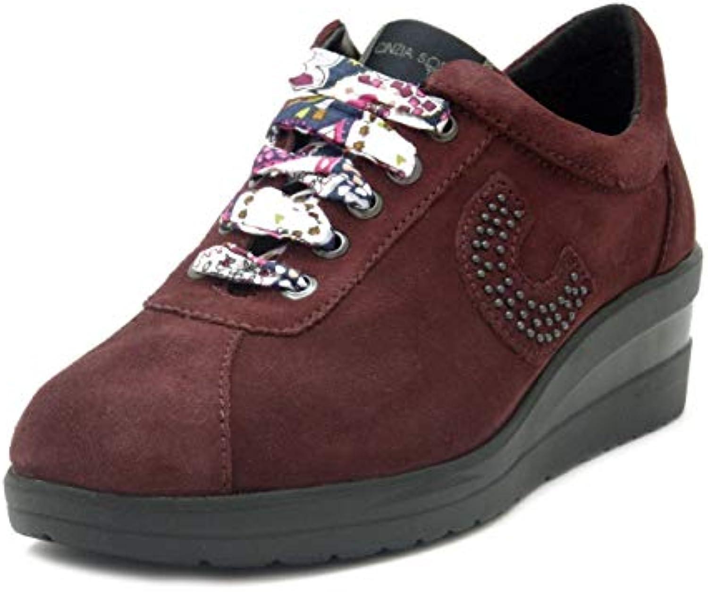 Cinzia Soft, scarpe scarpe scarpe da ginnastica Donna in Pelle Camoscio Rosso Bordeaux, Zeppa 4 cm, Plantare Estraibile, 6273 | Funzione speciale  | Uomo/Donna Scarpa  ddec56