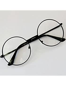 Forfar Moda Unisex Retro Lentes de aro de círculo redondo de metal original Ojo claro de la lente Gafas 2 estilos...