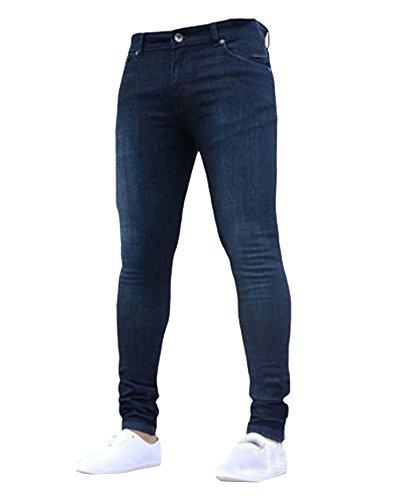 Jeans da uomo skinny elasticizzati slim pantaloni leggeri comodi blu marino 2xl
