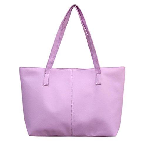 Tasche, Voberry Frauen Damen Leder Schultertasche Celebrity Tote Geldbörse Reisetasche large Lila