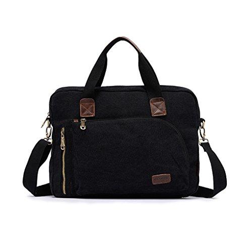 FakeFace Herren Satchel Schultasche Umhängetasche aus Canvas Segeltuch Schultertasche Messenger Bag Cross-Body Tasche für iPad Tablett 32 x 31 x 10 CM (Armee Grün) Schwarz 1