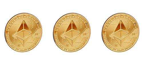 Scarlet Gifts | Münze »Ethereum«; massiver Stahl mit Edelmetallauflage (z.B. 24-Karat Gold, Silber, Kupfer); Sammlerstück mit Schutzhülle; Crypto Currency zum Anfassen (3X Gold) (Gold Sammlerstück Münzen)