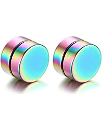 JewelryWe Joyería 8mm Pendientes Iman Non Piercing Zarcillos Aretes Pequeños, Pendientes Studs Redondos Unisex Estilo