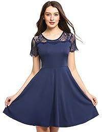 Zeagoo Damen Elegantes Spitzen Kleid Partykleider Festlich Ballkleid  Cocktailkleid mit Spitzenärmeln Kurzarm Casual Lace Patchwork A 5f0b2b55bf