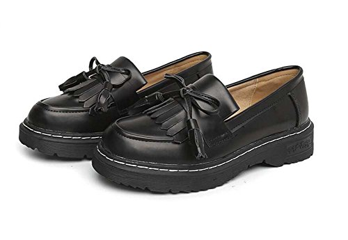Pump Loafer 3cm Dick Bottem Quaste Slip On Casual Schuhe Frauen Runde Toe Bowknot England Style Steigung Farbe Court Schuhe Eu Größe 34-43 ( Color : Black , Size : 42 )