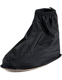 Buwico - Cubrezapatillas para la lluvia, para zapatillas de ciclismo, 1 par, alta calidad, impermeable y antideslizante, plástico, negro, mediano