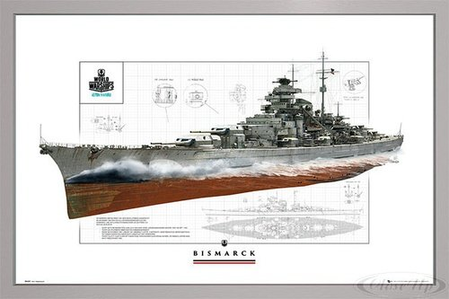 Close Up World of Warships Poster Schlachtschiff Bismarck (96,5x66 cm) gerahmt in: Rahmen Silber