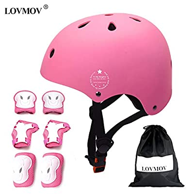 LOVMOV Kids Skateboard Helmet Protective Gear Set Knee Pads Elbow Pads Wrist Guards Adjustable Bike Helmets for BMX Scooter Skateboard Cycling Roller Skating Age 3-8 years old Boys Girls by LOVMOV