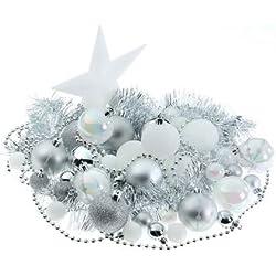Decorazioni natalizie - Kit di 44 pezzi per decorare l'abete : ghirlande , palle e puntale - Tema colorato : BIANCO e ARGENTO .