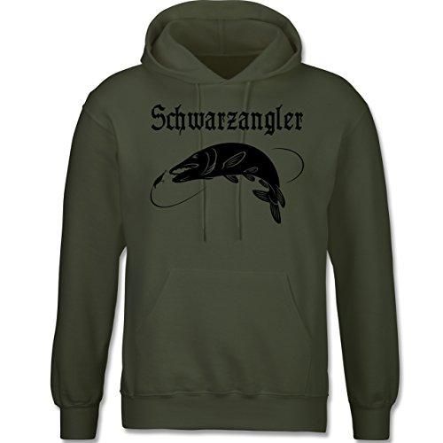 Angeln - Schwarzangler - langärmeliger Herren Kapuzenpullover / Hoodie