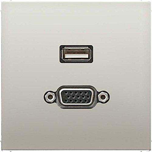 JUNG MAES1183 - PLACA USB/VGA ACERO PARA SERIE LS
