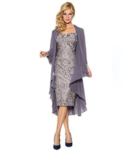 TIANSHIKEER plus size lace up scheide süße knielangen grauen silber chiffon kurz mutter der braut mit ihrem kleid aus. (46, Grau) (Kleid Silber-grau)