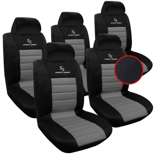 WOLTU AS7255-5 Set Coprisedili Auto 5 Posti Seat Cover Protezioni Universali per Macchina Tessuto Poliestere Nero/Grigio