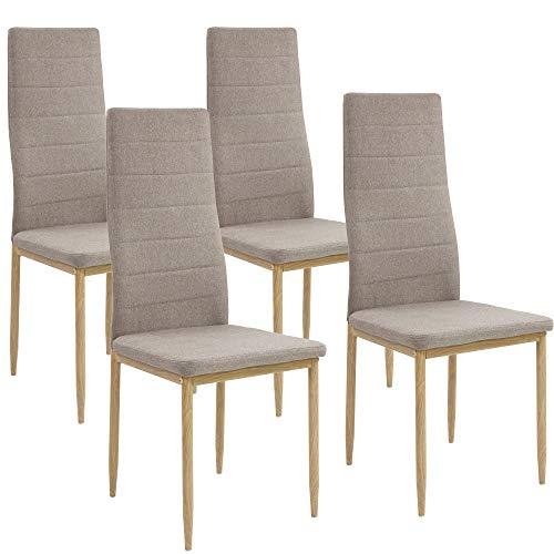 Albatros Esszimmerstühle SAN REMO 4-er Set Cappucino/Braun, Stoffbezug, Bequem & Ergonomisch geformte Lehne, Küchenstühle