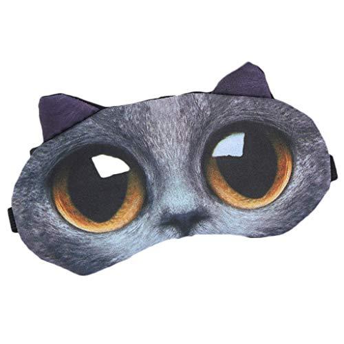 Kostüm Einfach Hause Katze Zu - DAKERTA Schlafmaske Lustig Augenmaske Süße Schlafbrille mit 3D Ohr Katze Hund Augenbinde Augenabdeckung für Frauen Kinder Zug Bus Flugzeug Reise Büro Mit Eissack (C)