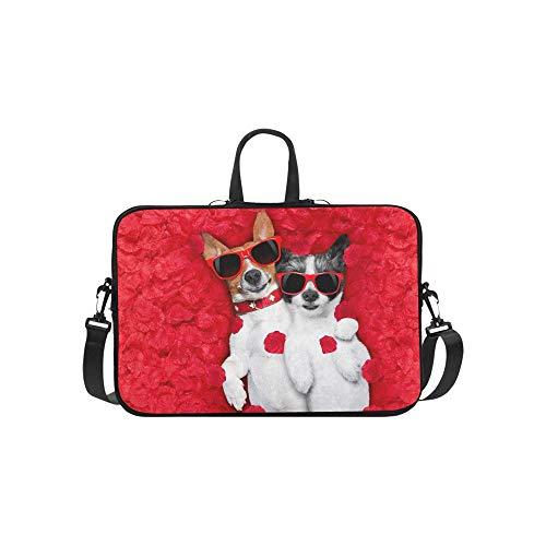 Paar Zwei Hunde Liegen Bett Volle Aktentasche Laptoptasche Messenger Schulter Arbeitstasche Crossbody Handtasche Für Geschäftsreisen (Bett-tasche Für Mädchen Voll)