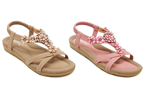 Scarpe da Spiaggia Donna - Landove Sandali Estate Moda Boemo Stile Scarpe Piatto Tacco Pantofole Casual beige 02