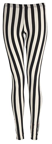 Islander Fashions Damen Plain Stretchy Leggings Damen In voller L�nge Gedruckt D�nne Legging Hosen Vertikale Streifen S / M EU 36-38 (Hosen Hosen Vertikale)