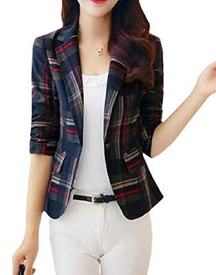 WQ&EnergyWomen Women's Plaid Long-Sleeve Business Leisure Mini Suit Blazer Coat
