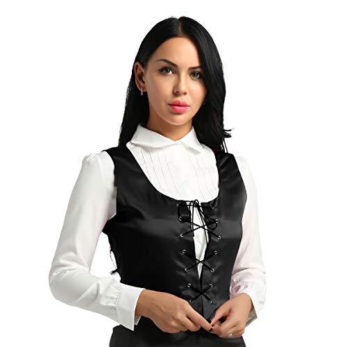 Agoky Damen Mittelalter Kostüm Mieder Weste Korsett Klassische Anzugweste Waistcoat Gothic Bluse Hemd Frauen Fasching Karneval Party Kleidung Schwarz L(Brust 95cm) (Schwarz Korsett Mieder Erwachsenen)