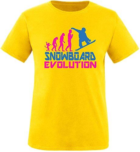 EZYshirt® Snowboard Evolution Herren Rundhals T-Shirt Gelb/Pink/Blau