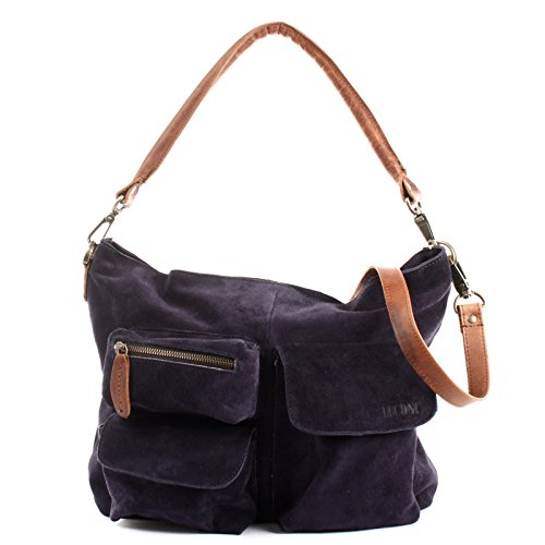 cb035c714e103 LECONI Schultertasche Damentasche Vintage Look Leconi Veloursleder  Wildleder Damen Leder Shopper 41x32x10cm LE00039-V navy