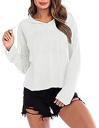 Fräulein Fox Printemps Automne Femmes Tricots Sweats à Capuche Casual  Manches Longues Hauts T-Shirt Sweat-Shirts Mode Couleur… 708ae4f93906